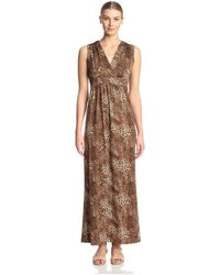 James & Erin Faux Wrap Maxi Dress - Brown