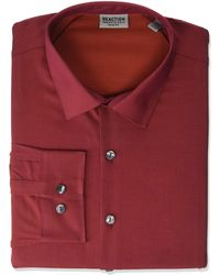 Kenneth Cole Reaction Dress Shirt Slim Fit All-day Flex Technicole Stretch Solid - Red