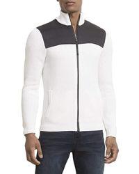 Kenneth Cole Long Sleeve Zip Mock Neck Sweater - White