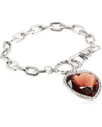 Guess Bracelet ligne avec cœur en pierre - Métallisé