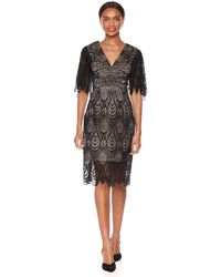 Dress the Population Mia Lace Flutter Sleeve Plunging Midi Sheath Dress - Black