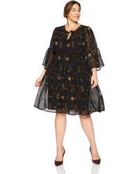 Lucky Brand Plus Size Swiss Dot Floral Dress - Black