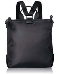 Calvin Klein Lane Nylon Boxy Top Zip Backpack - Black