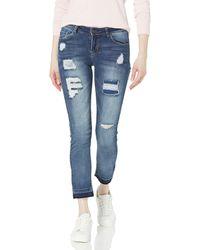 Kensie Jeans Straight-leg With Release-hem Jean - Blue