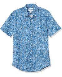 Amazon Essentials Short-Sleeve Slim-Fit Casual Poplin Shirt Button-Down-Shirts - Blu