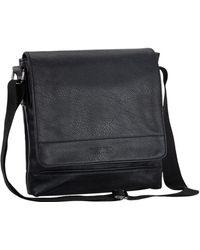 Kenneth Cole Reaction Grand Central Tablet Messenger Pebbled Vegan Leather Shoulder Case Crossbody Day Bag For School - Black