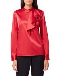 Tahari Stand-collar Ruffle-trim Top - Red