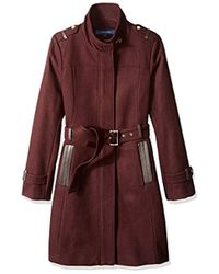 Cole Haan - Stand Collar Wool Coat - Lyst