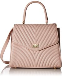Steve Madden Coco Ladies Top Handle Non Leather Satchel With Chevron Quilting - Multicolor