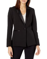 Nine West 1 Button Notch Collar Tuxedo Jacket - Black