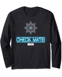 Perry Ellis In Black Check Mate Neon Logo Long Sleeve T-shirt - Blue