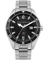 French Connection Quartz Watch With Stainless-steel Strap, Silver, 20 (model: Fc1309bsm) - Black