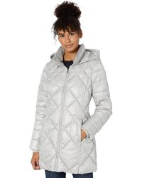 Marc New York Claremont Diamond Quilted Down Jacket With Removable Hood - Gray