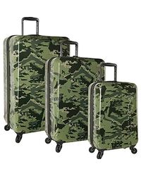 Columbia 3 Piece Hardside Spinner Luggage Suitcase Set - Green