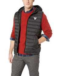 Guess Light Weight Puffer Vest With Hood - Black