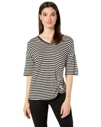 Kenneth Cole Side Ruched Tee - Black