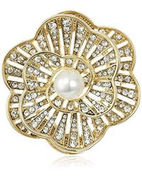 Napier - Giftables Boxed Gold-tone And Crystal Glass Pearl Brooch - Lyst