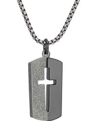 "Steve Madden - Black And Silver Cross Design Dogtag Necklace On 26"" Box Chain In Black Ip Stainless Steel, Black/silver-tone, 26 - Lyst"