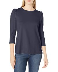 Lark & Ro Pima Cotton 3/4 Puff Sleeve Knit - Blue
