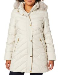 Anne Klein Down Coat With Faux Fur Trimmed Hood - Natural
