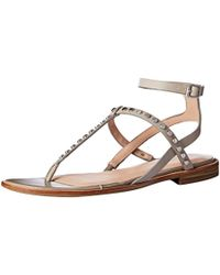 412cb82b333f Lyst - Michael Kors Michelle Patent-leather Thong in Pink