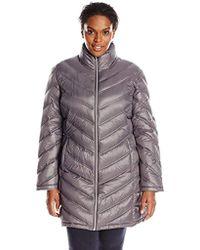Calvin Klein - Plus-size Chevron-quilted Packable Down Coat - Lyst
