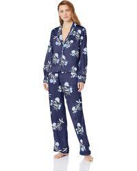 Splendid Button Up Long Sleeve Top And Bottom Satin Pajama Set Pj - Blue