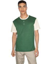 American Apparel 50/50 Short Sleeve Colorblock Henley - Green