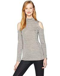 Adrianna Papell Jaspe Mock Turtleneck Long Sleeve Cold Shoulder - Gray