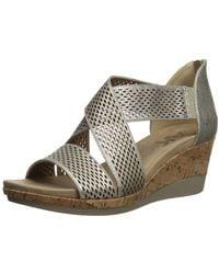 Anne Klein Ak Sport Pebbles Wedge Sandal, Metallic Taupe, 8.5 M Us