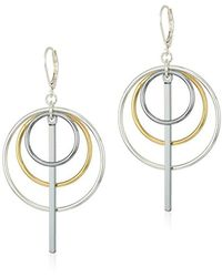 Nine West - Tri-tone Orbital Drop Earrings - Lyst