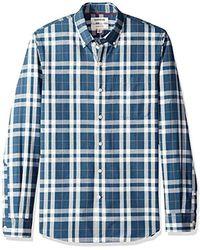 Goodthreads Amazon Brand - Slim-fit Long-sleeve Pinstripe Chambray Shirt - Blue