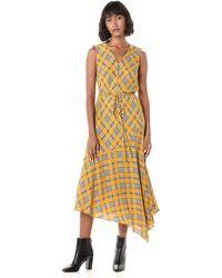 Vince Camuto Sleeveless Plaid Maxi Dress - Yellow