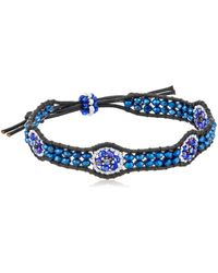 Miguel Ases Tanzanite Hydro-quartz Flower Station Leather Slip-knot Bracelet - Blue