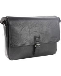 Kenneth Cole Reaction Modern Dilemma Pebbled Faux Leather Laptop & Tablet Business Case Travel Bag - Black