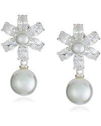 Nina - Rhada Elegant Pearl And Cubic Zirconia Floral Drop Earrings - Lyst