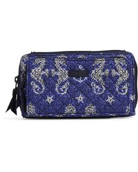 Vera Bradley With Rfid Protection S Signature Cotton Deluxe All Together Crossbody Purse Seahorse Of Course One S - Blue