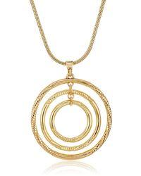 Napier Gold-tone Circle Pendant Necklace - Metallic