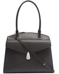 Calvin Klein Lock Daytona Leather Large Statement Satchel - Black