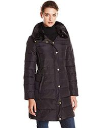 Ellen Tracy - Outerwear Belted Down Coat With Faux-fur Collar - Lyst