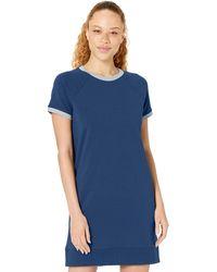 Core 10 Standard Soft Cotton Modal Relaxed Fit Short Sleeve Sweatshirt Dress - Blue