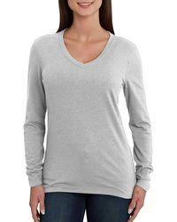 Carhartt Lockhartt Long Sleeve V-neck T-shirt - Gray