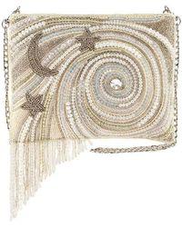 Mary Frances Ivory Galactic Beaded Crossbody Handbag - White