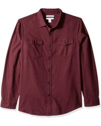 Amazon Essentials Regular-Fit Long-Sleeve Solid Flannel Shirt Button-Down-Shirts - Rosso