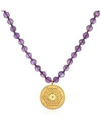 Satya Jewelry - Amethyst Gold Mandala Pendant Mala Necklace 32-inch, Purple, One Size - Lyst