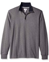 Dockers Interlock Quarter Zip Long Sleeve Sweater - Gray
