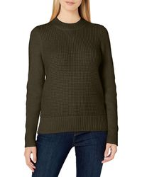 Lucky Brand Crew Neck Waffle Knit Sweater - Green