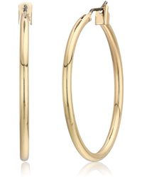 Napier Gold-tone Medium Hoop Earrings - Metallic