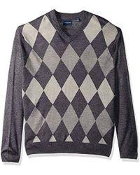 Dockers Long Sleeve Merino Vneck Sweaters - Gray