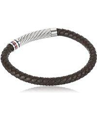 Tommy Hilfiger Jewelry Leather Tubular Braided Bracelet - Brown